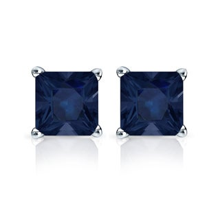 Auriya 14k Gold 1 1/2ct 4-Prong Basket Push-Back Princess-Cut Blue Sapphire Gemstone Stud Earrings