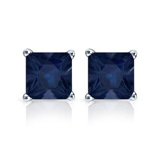 Auriya 14k Gold 1 1/2ct Princess-Cut Blue Sapphire Stud Earrings
