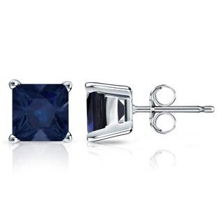 14k Gold Solitaire Princess-Cut 2ct Blue Sapphire Stud Earrings by Auriya