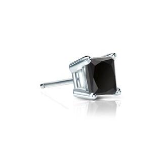 Auriya 14k Gold 1/4ct TDW Black Princess-Cut SINGLE STUD (1) Diamond Earring