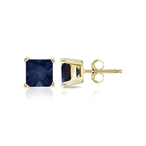 Auriya 14k Gold Princess-cut Sapphire Stud Earrings 1ct TGW
