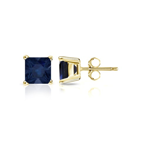 Auriya 14k Gold 1ct Princess-Cut Blue Sapphire Stud Earrings