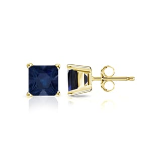 Auriya 14k Gold 1ct 4-Prong Basket Push-Back Princess-Cut Blue Sapphire Gemstone Stud Earrings