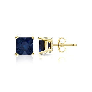 14k Gold Solitaire Princess-Cut 1ct Blue Sapphire Stud Earrings by Auriya