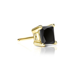 Auriya 14k Gold 1/3ct TDW 4-Prong Basket Push-Back Princess-Cut Black Diamond Single Stud Earring