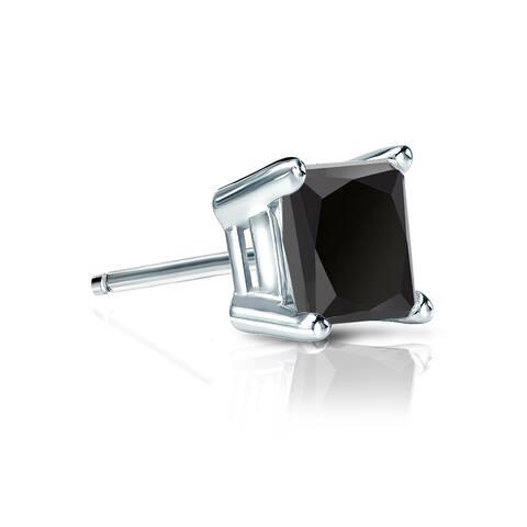 Auriya 3/4ctw Princess-cut SINGLE STUD (1) Black Diamond Earring 14k Gold