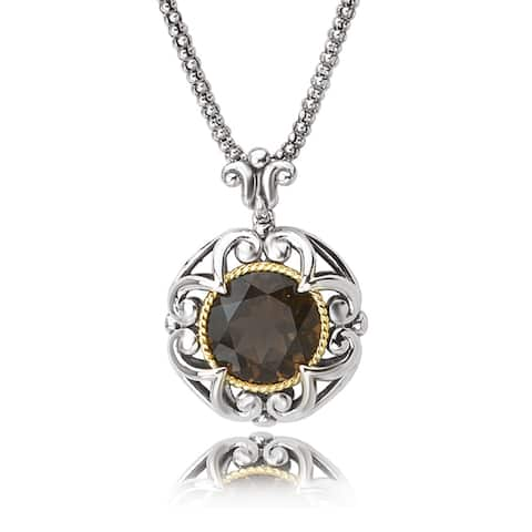 Avanti Sterling Silver and 18K Yellow Gold Round Smokey Quartz Fashion Pendant Necklace