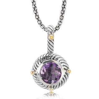 Avanti Sterling Silver and 18K Yellow Gold Round Amethyst Rope Trim Pendant Necklace