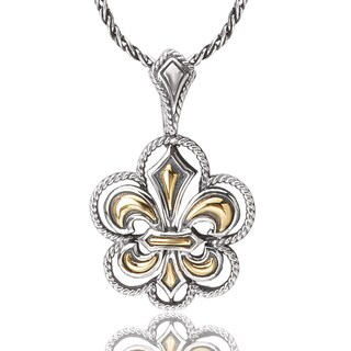 Avanti Sterling Silver 18K Yellow Gold Fleur De Lis Design Fashion Pendant Necklace