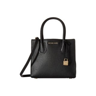 Michael Kors Mercer Black Leather Medium Crossbody Handbag