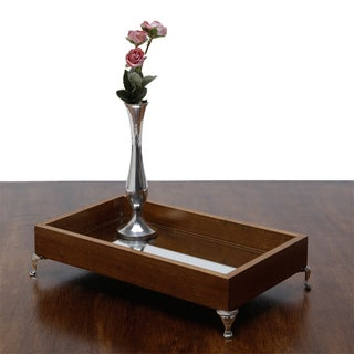 Woodart Brown Bamboo Tray with Mirrored Interior and Nickel Feet