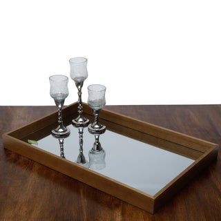 Woodart Mirrored Brown Wooden Serving Tray