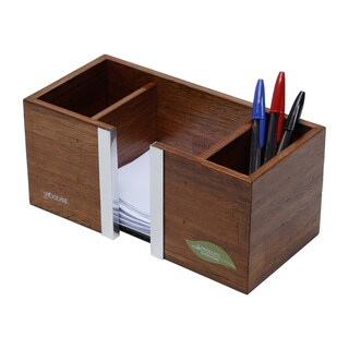 Brown Wood 3-compartment Pencil and Paper Desk Organizer