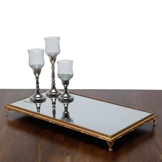 Golden Wood Footed Serving Tray