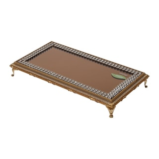 Mirrored Golden Wood Serving Tray