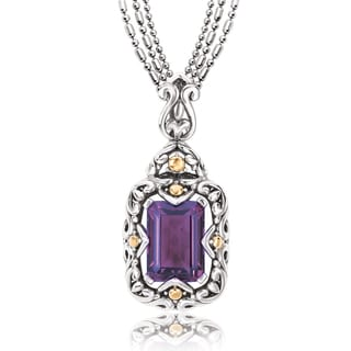 Avanti Sterling Silver and 18K Yellow Gold Emerald Shape Amethyst Swirl Design Pendant Necklace