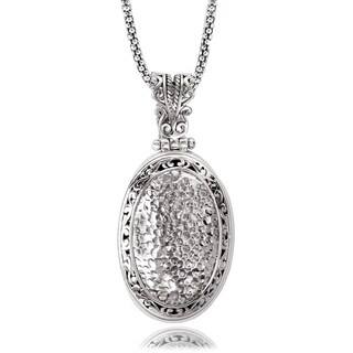Avanti Sterling Silver Oval Shaped Hammered Pendant Necklace