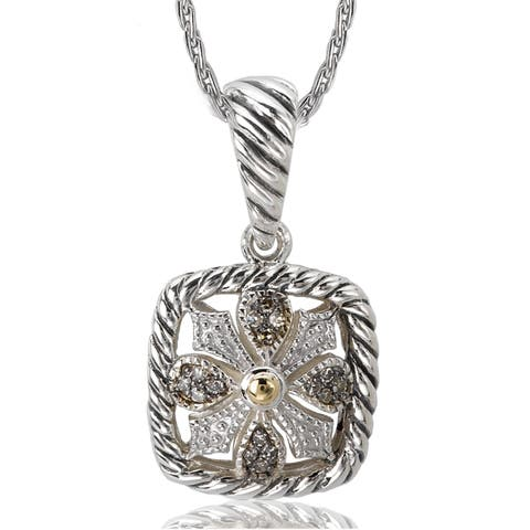 Avanti Sterling Silver and 18K Yellow Gold 1/10 CT TDW Brown Diamond Cushion Shape and Flower Design Necklace (Brown, SI2-I1)