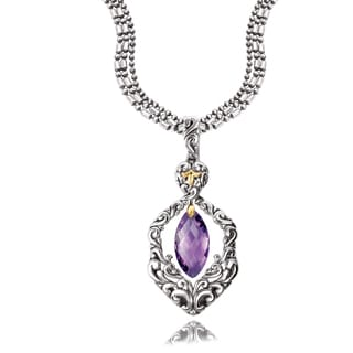 Avanti Sterling Silver and 18K Yellow Gold Marquise Amethyst Dangle Pendant Necklace