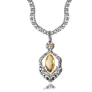 Avanti Sterling Silver and 18K Yellow Gold Marquise Citrine Dangle Pendant Necklace