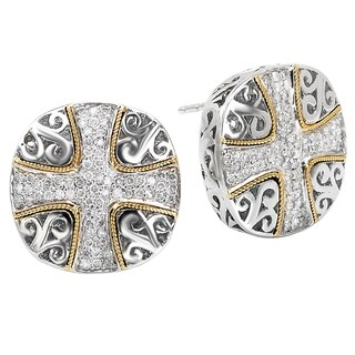 Avanti Sterling Silver and 18K Yellow Gold 1/2 Ct TDW Diamond Cross Design Cushion Button Earrings (I-J, I1-I2)