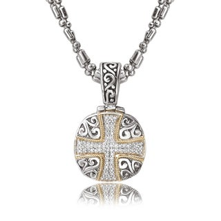 Avanti Sterling Silver and 18K Yellow Gold 1/4 CT TDW Diamond Cross Design Cushion Pendant Necklace (I-J, I1-I2)
