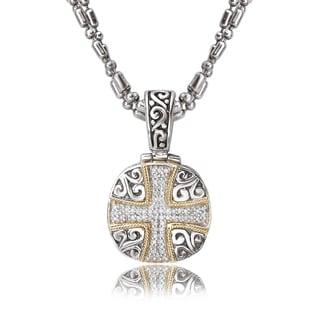 Avanti Sterling Silver and 18K Yellow Gold 1/4 CT TDW Diamond Cross Design Cushion Pendant Necklace (I-J, I1-I2)