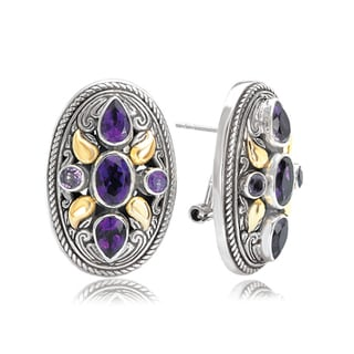 Avanti Sterling Silver and 18K Yellow Gold Ornate Filigree Oval Shape Button Earrings