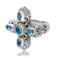 Avanti Sterling Silver and 18K Yellow Gold Blue Topaz Cross Ring