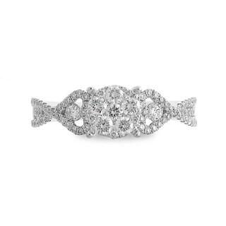 Azaro 14k White Gold 5/8ct TDW Split Shank Round Diamond Cluster Fashion Band (G-H, SI1-SI2)