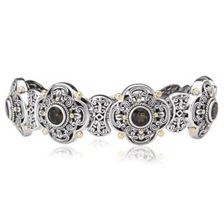 Avanti Sterling Silver And 18K Yellow Gold Smoky Quartz Clover Link Bracelet