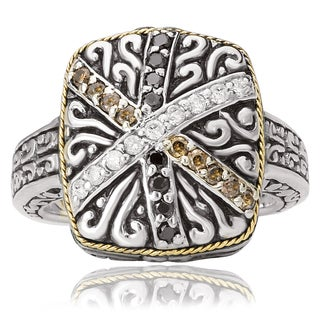 Avanti Sterling Silver and 18K Yellow Gold 2/5 Ct TDW White Black and Brown Diamond Statement Ring