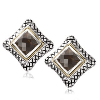 Avanti Sterling Silver and 18K Yellow Gold Smoky Quartz Square Button Earrings