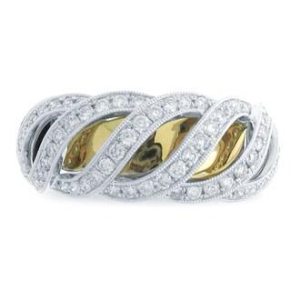 Azaro 18k Two-tone Gold 1/2ct TDW Scalloped Diamond Fashion Band (G-H, SI1-SI2)