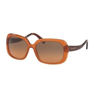 Coach HC8178F L1592 540295 Amber/Dark Brown Womens Plastic Rectangle Sunglasses