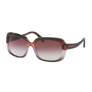 Coach HC8178F L1592 54018H Purple Brown Gradient/Brown Womens Plastic Rectangle Sunglasses
