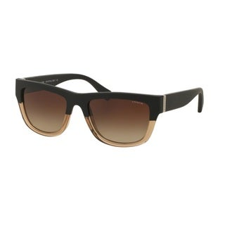 Coach HC8174Q L159 538013 Black Crystal Lt Brown/Black Womens Plastic Rectangle Sunglasses