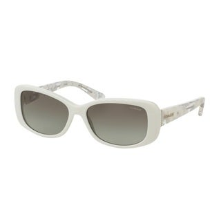 Coach HC8168 L156 536011 White/White Crystal Mosaic Womens Plastic Rectangle Sunglasses