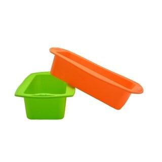 Orange and Green Silicone Rectangular Cake/Loaf Pan Set (Set of 2)