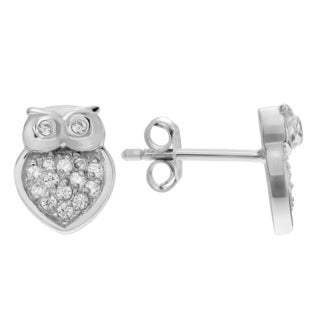 Journee Collection Sterling Silver Cubic Zirconia Owl Stud Earrings
