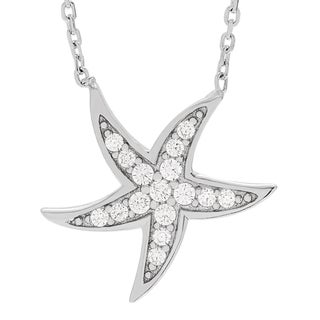 Journee Collection Sterling Silver Cubic Zirconia Starfish Necklace
