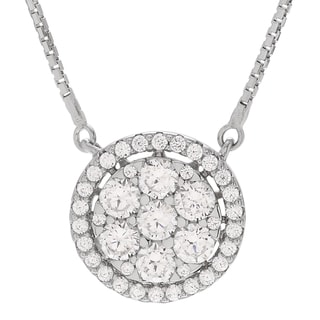Journee Collection Sterling Silver Round Cubic Zirconia Pendant Necklace