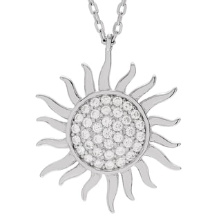 Journee Collection Sterling Silver Cubic Zirconia Sun Necklace
