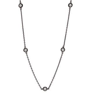 Journee Collection Sterling Silver Black Rhodium-plated Cubic Zirconia Necklace