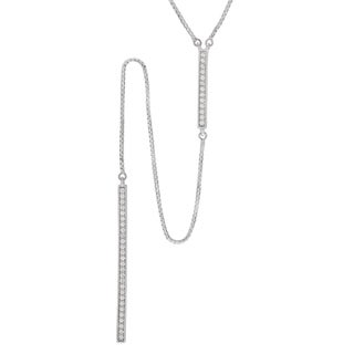 Journee Collection Sterling Silver Cubic Zirconia Bar Drop Necklace