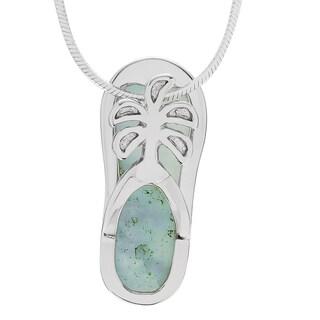 Journee Collection Sterling Silver Larimar Flip-flop Pendant Necklace