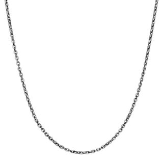 Journee Collection Sterling Silver Black Rhodium 18 Inch Cable Chain