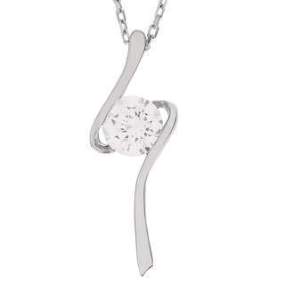 Journee Collection Sterling Silver Cubic Zirconia Twist Pendant Necklace