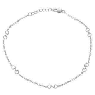 Journee Collection Sterling Silver Scroll Emblem Anklet