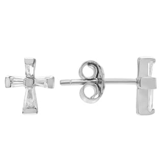 Journee Collection Sterling Silver Cubic Zirconia Baguette Cross Stud Earrings